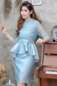 ชุดเดรสสวยหรูสีฟ้า