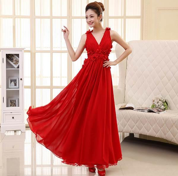ชุดกระโปรงยาวสวยๆ สีแดงอ่อน ผ้ายืด