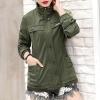 เสื้อกันหนาวผู้หญิงแฟชั่นเกาหลี สีเขียวทหาร แจ็คเก็ตคอยืน มีสไตล์ ใส่กันลม หน้าหนาว