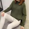 เสื้อไหมพรมแฟชั่นกันหนาว เสื้อสเวตเตอร์คอกลม สีเขียวทหาร แขนยาว ยาวคลุมสะโพก น่ารัก