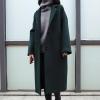 เสื้อโค้ทกันหนาวผู้หญิง สีเขียวเข้ม ยาวคลุมเข่า ผ้า Woolen ใส่เที่ยวรับลมหนาว ต่างประเทศ