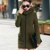 เสื้อกันหนาวผู้หญิงแฟชั่นเกาหลี สีเขียวทหาร แจ็คเก็ตมีฮู้ด ซับบุขนสัตว์ ยาวคลุมสะโพก
