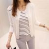 เสื้อคลุมไหมพรมคาร์ดิแกน เสื้อคลุมผู้หญิงแฟชั่นสวยๆ แขนยาว สีขาว แต่งกระดุมหลอก