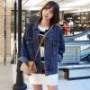 เสื้อยีนส์ผู้หญิง แจ็คเก็ตยีนส์ เสื้อคลุมยีนส์ สีน้ำเงิน คอปก แขนยาว ตัวโคร่ง แนวๆ