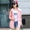 เสื้อกันหนาวผู้หญิงแฟชั่นเกาหลี สีชมพู แจ็คเก็ตกันลม มีฮู้ด ตัวยาวคลุมสะโพก เท่ๆ