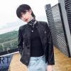 เสื้อแจ็คเก็ตหนังผู้หญิง แฟชั่นเกาหลี สีดำ แจ็คเก็ตหนัง PU คอกลม สไตล์ Biker Girls สุดคลาสิค