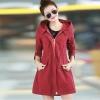 เสื้อกันหนาวผู้หญิงแฟชั่นเกาหลี สีไวน์แดง แจ็คเก็ตกันลมมีฮู้ด ตัวยาวคลุมสะโพก