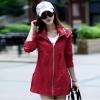 เสื้อกันหนาวผู้หญิงแฟชั่นเกาหลี สีไวน์แดง แจ็คเก็ตกันลม มีฮู้ด ตัวยาวคลุมสะโพก เท่ๆ