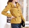 เสื้อกันหนาวผู้หญิงแฟชั่นเกาหลี สีเหลือง แจ็คเก็ตมีฮู้ด ตกแต่งลายจุด สวยๆ