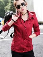 เสื้อกันหนาวผู้หญิง แฟชั่นเกาหลี แจ็คเก็ตสีแดง มีฮู้ด แบบซิปรูด
