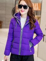 (สินค้าหมด) เสื้อโค้ทกันหนาวผู้หญิง สีม่วง ตัดสีเทาช่วงแขนจั๊มและซิปรูด