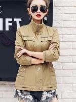 เสื้อกันหนาวผู้หญิงแฟชั่นเกาหลี สีกากี แจ็คเก็ตคอยืน มีสไตล์ ใส่กันลม หน้าหนาว