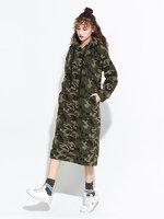 เสื้อกันหนาวแฟชั่นผู้หญิง สีเขียว สเวตเตอร์ลายพรางทหาร ตัวยาวโคร่ง มีฮู้ด