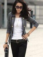 (สินค้าหมด) เสื้อสูทแฟชั่น เสื้อสูทผู้หญิง สีเทา แขนยาว แต่งขลิบสีดำ