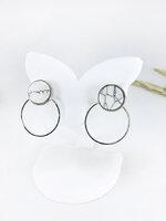 Marble Earring ต่างหูแฟชั่นเกาหลี ตุ้มหูหินอ่อน เสริมแป้นซ้อนหลังทรงกลมสีเงิน ใส่ได้ 2 แบบ พร้อมส่งค่ะ