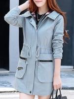 เสื้อกันหนาวผู้หญิงแฟชั่นเกาหลี สีฟ้า แจ็คเก็ตกันลมมีฮู้ด ตัวยาวคลุมสะโพก แต่งลายสก็อต
