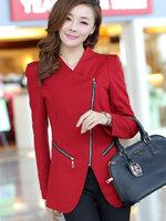 (สินค้าหมด) เสื้อสูทแฟชั่น เสื้อสูทผู้หญิง สีแดง แบบซิปรูด ดีไซน์คอป้าย