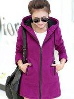 (สินค้าหมด) เสื้อกันหนาวผู้หญิง สีม่วง ซิปหน้า มีฮู้ท ผ้าขนสัตว์เนื้อหนา