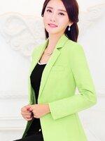 (สินค้าหมด) เสื้อสูทแฟชั่น เสื้อสูทผู้หญิง สีเขียว คอปก แขนยาว