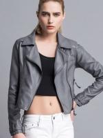 เสื้อแจ็คเก็ตหนังผู้หญิง แฟชั่นเกาหลี สีเทา แจ็คเก็ตหนัง PU ตัวสั้น คอปก ชิคๆ คูลๆ