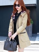 เสื้อกันหนาวผู้หญิงแฟชั่นเกาหลี สีกากี แจ็คเก็ตกันลมมีฮู้ด ตัวยาวคลุมสะโพก แต่งลายสก็อต