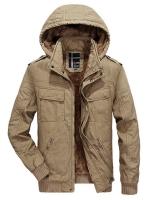 เสื้อกันหนาวผู้ชาย เสื้อแจ็คเก็ตผู้ชายมีฮู้ดถอดได้ สีกากี ซับขน จั๊มข้อมือ และเอว
