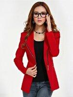(สินค้าหมด) เสื้อสูทแฟชั่นผู้หญิง เสื้อสูททำงาน สีแดง ดีไซน์คอปก แต่งซิปช่วงเอว