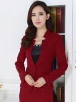 (สินค้าหมด) เสื้อสูทแฟชั่นผู้หญิง เสื้อสูททำงานสีแดง คอวีลึก แต่งเว้าช่วงคอเสื้อเก๋ๆ กระดุมเม็ดเดียวเก๋ ไหล่เสริมฟองน้ำ เข้ารูปช่วงเอว