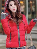 (สินค้าหมด) เสื้อกันหนาวผู้หญิงแฟชั่นเกาหลี สีแดง แต่งตัดด้วยสีเทา แต่งลายช่วงฮูท มีกระเป๋าด้านข้าง