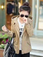 เสื้อกันหนาวผู้หญิงแฟชั่นเกาหลี สีกากี แจ็คเก็ตมีฮู้ด ลายจุด ใส่กันลมสวยๆ