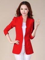 เสื้อสูทแฟชั่น เสื้อสูทผู้หญิง สีแดง แขนยาว แต่งเว้าที่ปกเสื้อ ตัวยาวคลุมสะโพก