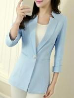 เสื้อสูทผู้หญิง เสื้อสูทแฟชั่น สีฟ้า แขนสี่ส่วน คอวี แต่งเว้าคอเสื้อ ยาวคลุมสะโพก