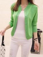 เสื้อคลุมไหมพรมคาร์ดิแกน เสื้อคลุมผู้หญิงแฟชั่นสวยๆ แขนยาว สีเขียว แต่งกระดุมหลอก