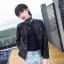 เสื้อแจ็คเก็ตหนังผู้หญิง แฟชั่นเกาหลี สีดำ แจ็คเก็ตหนัง PU คอกลม สไตล์ Biker Girls สุดคลาสิค thumbnail 1