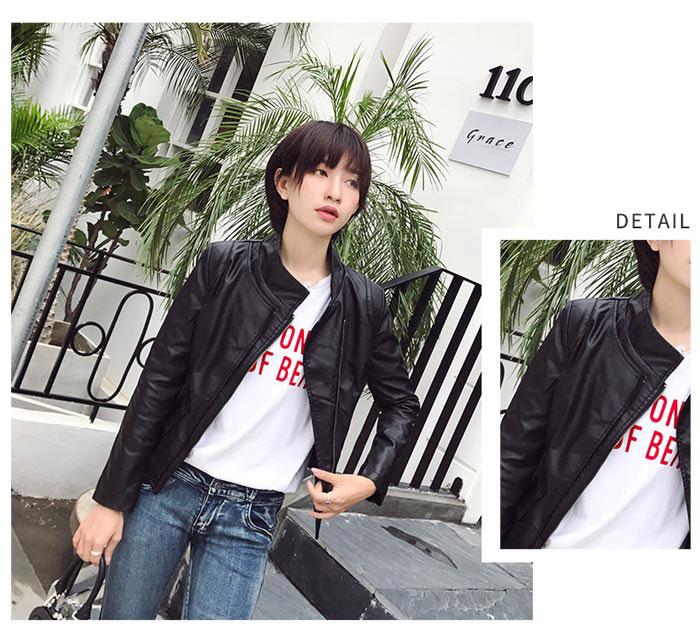 เสื้อแจ็คเก็ตหนังผู้หญิง แฟชั่นเกาหลี สีดำ แจ็คเก็ตหนัง PU คอจีน เท่ๆ สุดคลาสสิค
