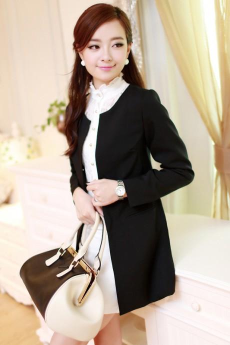 (สินค้าหมด) เสื้อสูทแฟชั่น เสื้อสูทผู้หญิง สีดำ แขนยาว ตัวยาวคลุมสะโพก