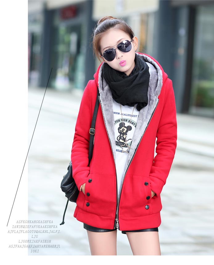 เสื้อกันหนาวผู้หญิงแฟชั่นเกาหลี สีแดง แจ็คเก็ตมีฮู้ด ซับบุขนสัตว์