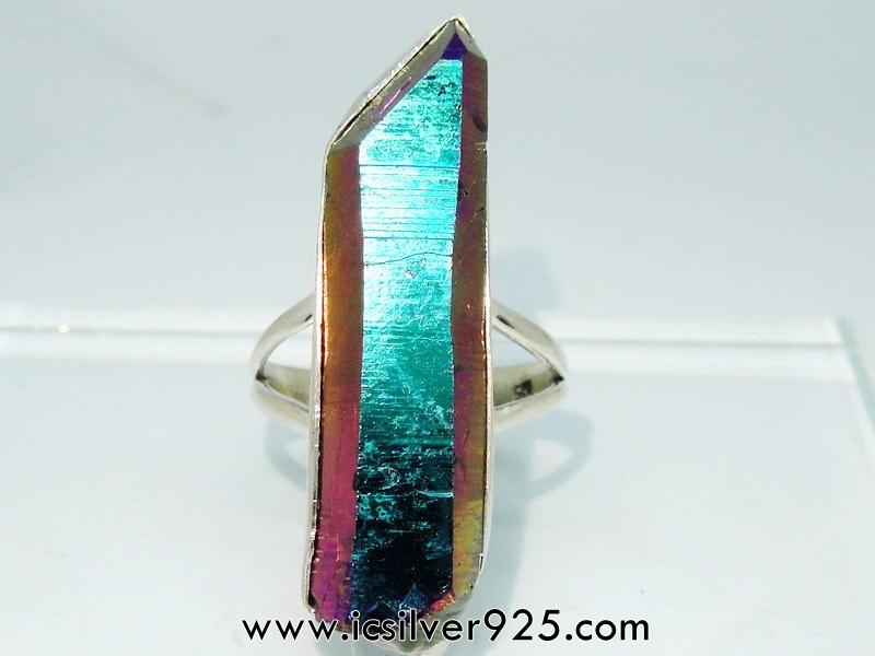 TITANIUM AURA QUARTZ -แหวนเงินแท้ 925 (แหวนเบอร์ : 65) 10.6g