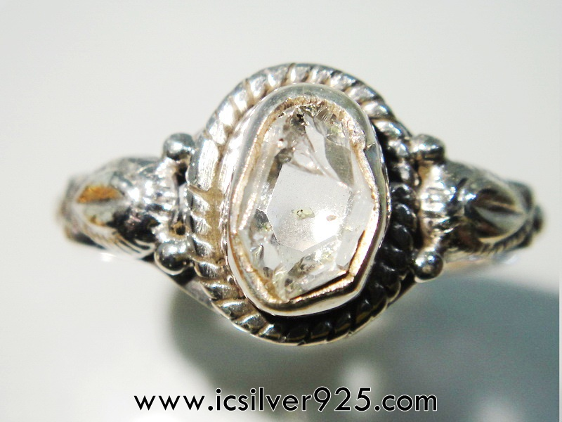 เพชรเฮอร์คิวเมอร์ ( HERKIMER DIAMOND ) แหวนเงินแท้ 925(แหวนเบอร์ : 62) 2.8g