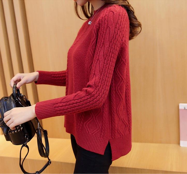 เสื้อไหมพรมแฟชั่นกันหนาว เสื้อสเวตเตอร์ สีชมพู คอปิด แขนยาว ดีไซน์ลายถัก หวานๆ