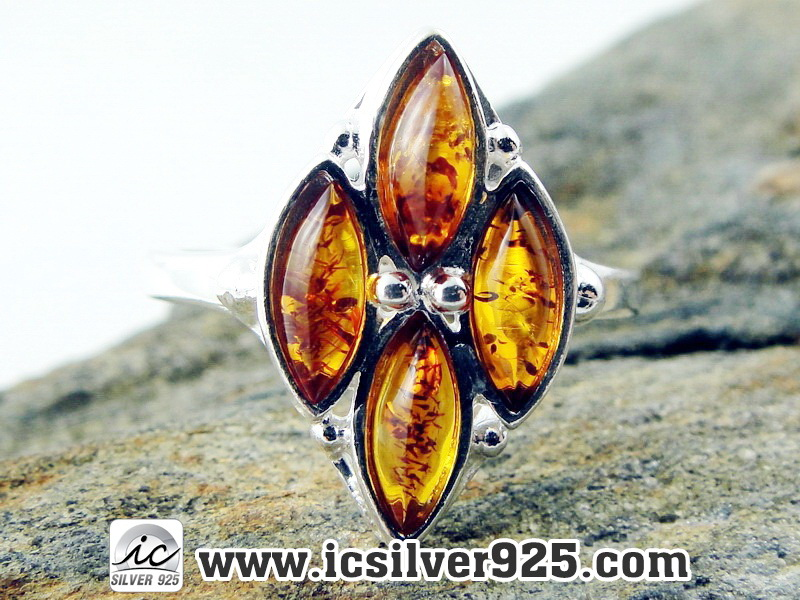 ▽อำพัน Amber - แหวนเงินแท้ 925 (ขนาดแหวนเบอร์ : 56 , 2.5g)