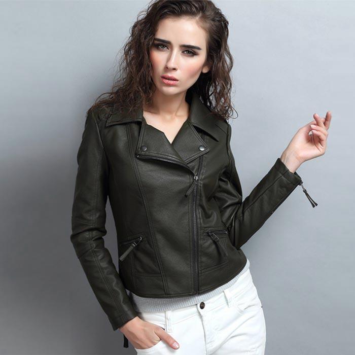 เสื้อแจ็คเก็ตหนังผู้หญิง แฟชั่นเกาหลี สีดำ แจ็คเก็ตหนัง PU คอปก มีสไตล์ แนวเท่ๆ