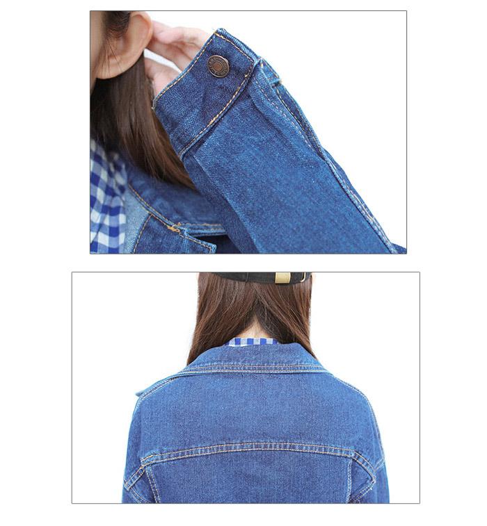 เสื้อยีนส์ผู้หญิง แจ็คเก็ตยีนส์ เสื้อคลุมยีนส์ สีน้ำเงิน คอปก แขนยาว ตัวโคร่ง Oversize