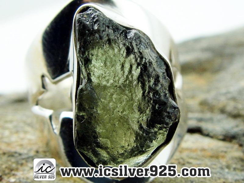▽สะเก็ดดาวโมดาไวท์ MOLDAVITE -แหวนเงินแท้ 925 (ขนาดแหวนเบอร์ : 56)