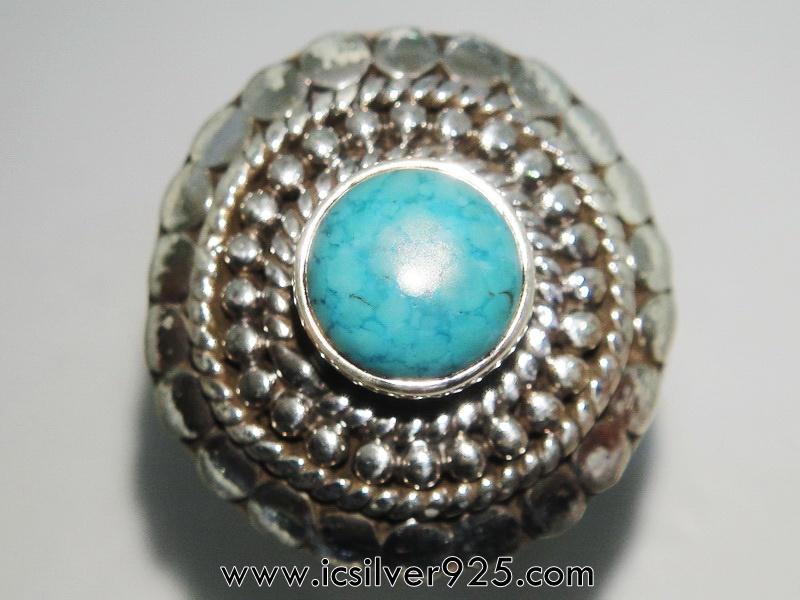 เทอร์ควอยซ์ Turquoise แหวนเงินแท้ 925 (แหวนเบอร์ : 55)