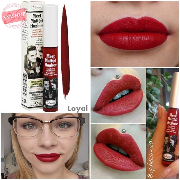 T้he Balm Meet Matte Hughes Long Lasting Liquid Lipstick 7.4 ml. #Loyal : แดงกำมะหยี่ ไม่ใช่แดงสด แซบๆ นะคะ แต่จะให้ลุค หรูหรา ดูแพง สีแบบนี้ทาแล้วไม่ทำให้ฟันดูเหลือง เข้าได้กับทุกสีผิว ใครอยากทาลิปสีแดงแบบเจิดๆ แนะนำสีนี้เลยคะ