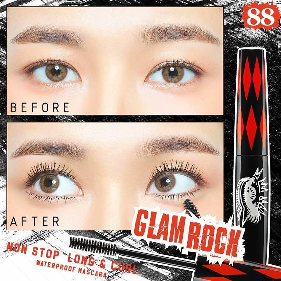 VER.88 GLAM ROCK NONSTOP LONG & CURL Waterproof Mascara สีดำ