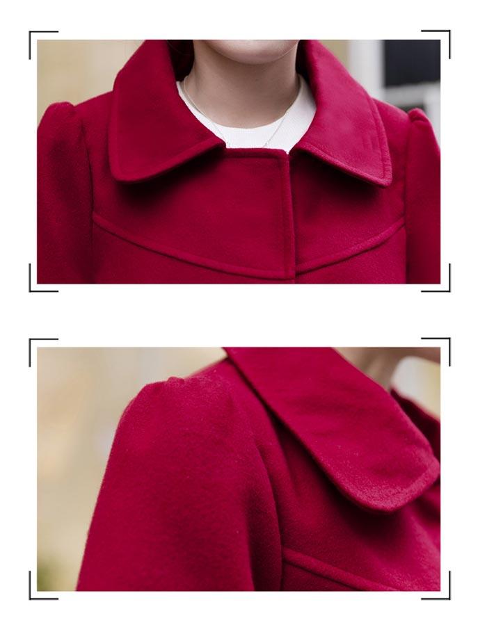 เสื้อโค้ทกันหนาวผู้หญิง สีไวน์แดง คอบัว ยาวคลุมสะโพก ทรงเก๋ ใส่กันหนาว สวยๆ