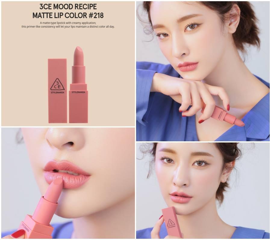 3CE Mood Recipe Matte Lip Color #218 Mirrorlik โทนชมพูนุ่มๆ