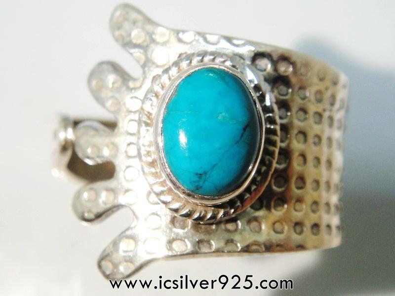 ▽คริสโซโคลล่า Chrysocolla- เปรู-แหวนเงินแท้ 925 -(แหวนเบอร์ : 58)